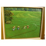 SRI MARTHA (1941-) contemporary Indonesian art colorful impressionist landscape painting of emerald green rice paddies by noted artist