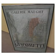 ALBERTO GIACOMETTI (1901-1966) original lithograph poster for 1954 Galerie Maeght exhibition