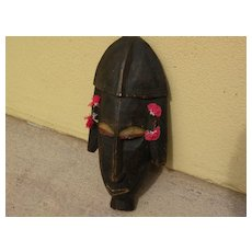 African ethnographic art carved painted wood ceremonial mask