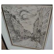 """MAURICE de VLAMINCK (1876-1958) plate signed etching print """"Rue de la Glaciere"""" 1937"""