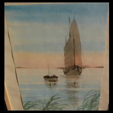 Contemporary Asian signed watercolor of a Chinese junk reflected in calm estuary waters