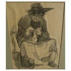 RICHARD SEGALMAN (1934-) American art charcoal drawing of seated figure by noted gallery artist