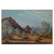 California plein air art signed desert painting circa 1980