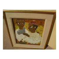 """BHAGWAN KAPOOR (1935-) modern Indian art signed gouache painting """"Two Children & a Bird"""""""