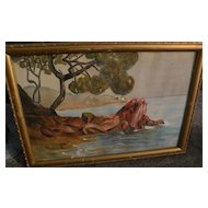 French 1927 watercolor painting likely French Riviera signed H. CLOTTU‏