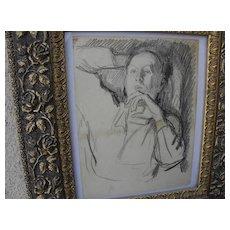 JULIUS BLOCH (1888-1966) original charcoal self-portrait drawing by well listed Philadelphia Jewish artist
