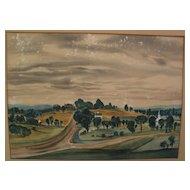DEAN FAUSETT (1913-1998) silkscreen print of New England landscape by noted American artist