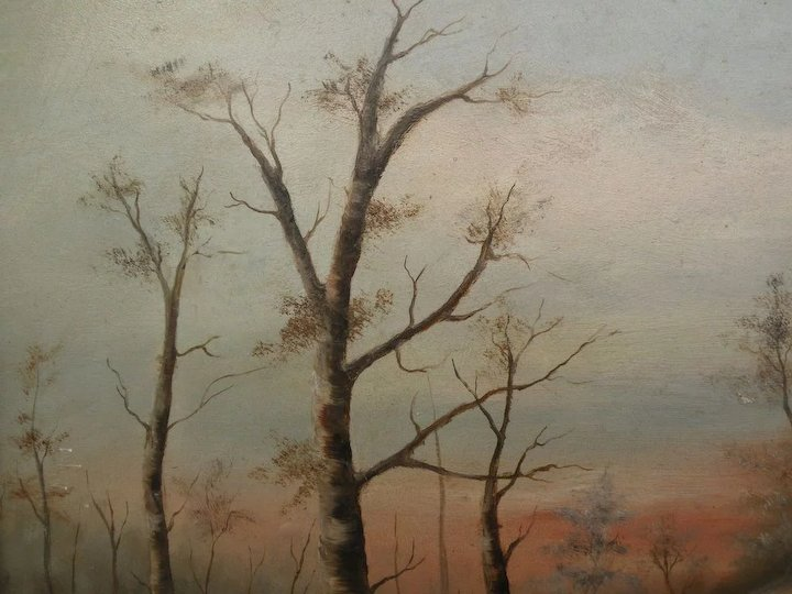 American Late 19th Century Art Primitive Landscape Painting Of Cabin