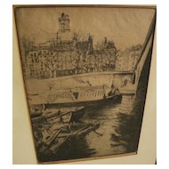 EDGAR CHAHINE (1874-1947) fine etching of Saint-Gervais, Paris, by noted Armenian-French artist
