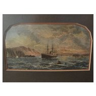 """Late 19th century hand colored engraving print """"Entrance to the Bay of San Francisco"""""""
