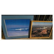 Aviation memorabilia Voyager first round the world nonstop flight without refueling TWO photos signed by pilots Jeana Yeager and Dick Rutan