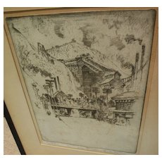 JOSEPH PENNELL (1857-1926) pencil signed etching of Pennsylvania coal town by famous American printmaker and illustrator artist