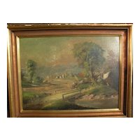 Hudson River style antique landscape painting circa 1890‏