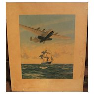 "Aviation memorabilia vintage PAN AM 1939 travel poster print ""Yankee Clippers Sail Again"""