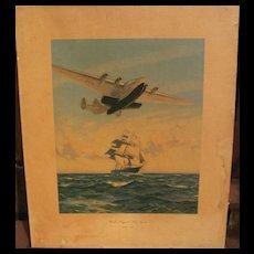 "Aviation memorabilia vintage PAN AM 1939 travel poster print ""Yankee Clippers Sail Again"""