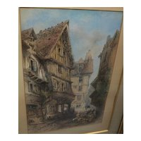 THOMAS COLMAN DIBDIN (1810-1893) fine watercolor of Normandy town scene by accomplished English artist