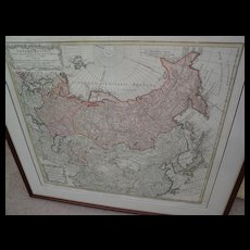 Antique 1739 engraved hand colored map of Russian Empire by cartographer Johann Baptiste Homanns