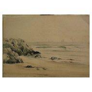 Circa 1900 antique watercolor painting of New England coastline