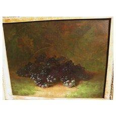 CARDUCIUS PLANTAGENET REAM (1837-1917) American art fine still life painting of purple grapes