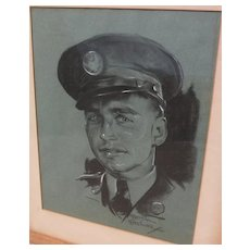 BETTINA STEINKE (1913-1999) original charcoal drawing portrait by noted Southwest artist and illustrator
