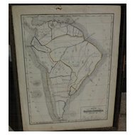 19th century American school girl hand drawn map of South America