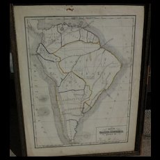 19th century American school girl hand drawn map of South America