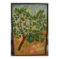 """HARRY LIEBERMAN (1876-1983) naive style painting """"Avocado Tree"""" by acclaimed Jewish artist"""