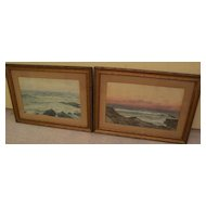 American marine art PAIR of 19th century watercolor coastal landscape paintings