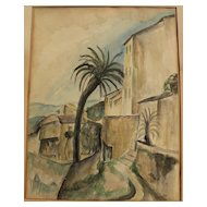 Fine 1926 French Mediterranean ink and watercolor drawing signed and with Stendahl Gallery provenance