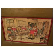 Fine 1910 humorous signed watercolor and ink drawing of 17th century Dutchmen asleep in a tavern