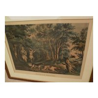 "Currier and Ives large folio hand colored lithograph print ""Woodcock Shooting"" 1852, condition issues"