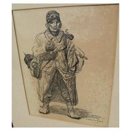 THEOPHILE-ALEXANDRE STEINLEN (1859-1923) lithograph print of WWI subject dated 1915