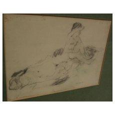 MAX MAYRSHOFER (1875-1950) charcoal drawing of nude women bathing circa 1915
