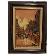 Retro painting of Paris street scene circa 1970