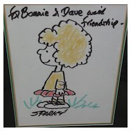 "CHARLES M. SCHULZ (1922-2000) Comic art original drawing of ""Peanuts"" character"