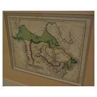 """Original hand colored 1814 map of Canada """"British Dominions in North America"""""""