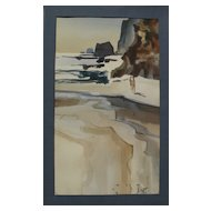 "MILFORD ZORNES (1908-2008) California art watercolor painting ""Cliffs and Sea"""