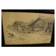 ROBERT KOEHLER (1850-1917) pencil drawing of Bavarian houses dated 1880 by noted German-American artist