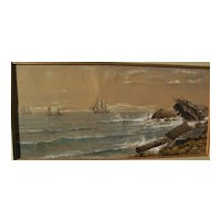 EDMUND DARCH LEWIS (1835-1910) fine American marine art watercolor and gouache coastal landscape including shipwreck