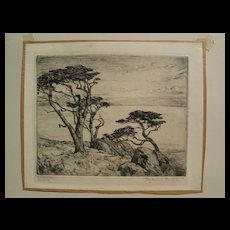 """BENJAMIN CHAMBERS BROWN (1865-1942) pencil signed drypoint etching """"Carmel Cypress"""" by important California plein air artist"""