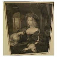 European 19th century engraving of a royal lady after an old master painting
