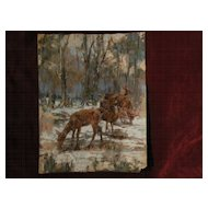 WOLF POGZEBA (1936-1982) Western American wildlife art pastel painting by listed artist