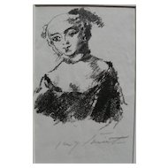 "LOVIS CORINTH (1858-1925) pencil signed lithograph ""Die Markgrafin von Bayreuth"" by highly important German artist"