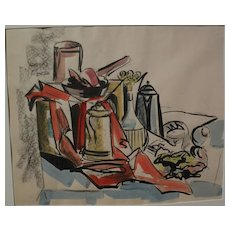 Modernist still life watercolor and charcoal painting cubist inspired