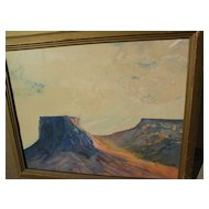 Southwest art signed 1930's watercolor painting of buttes and mesas