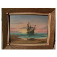 American marine art signed mid century painting of a clipper ship near a beach at sunset