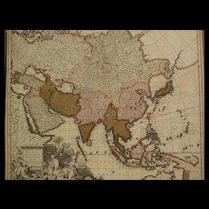 Antique circa 1710 map of Asia by cartographers Gerardo and Leonardo Valk