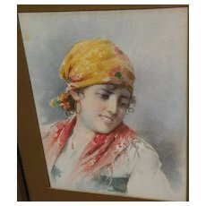 Circa 1900 Italian art fine watercolor painting of a young woman