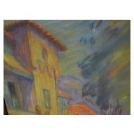 Impressionist pastel drawing of figures and architecture by California artist FREDERICK MILLSON