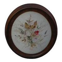 Americana folk art antique micro stitch oval needlepoint